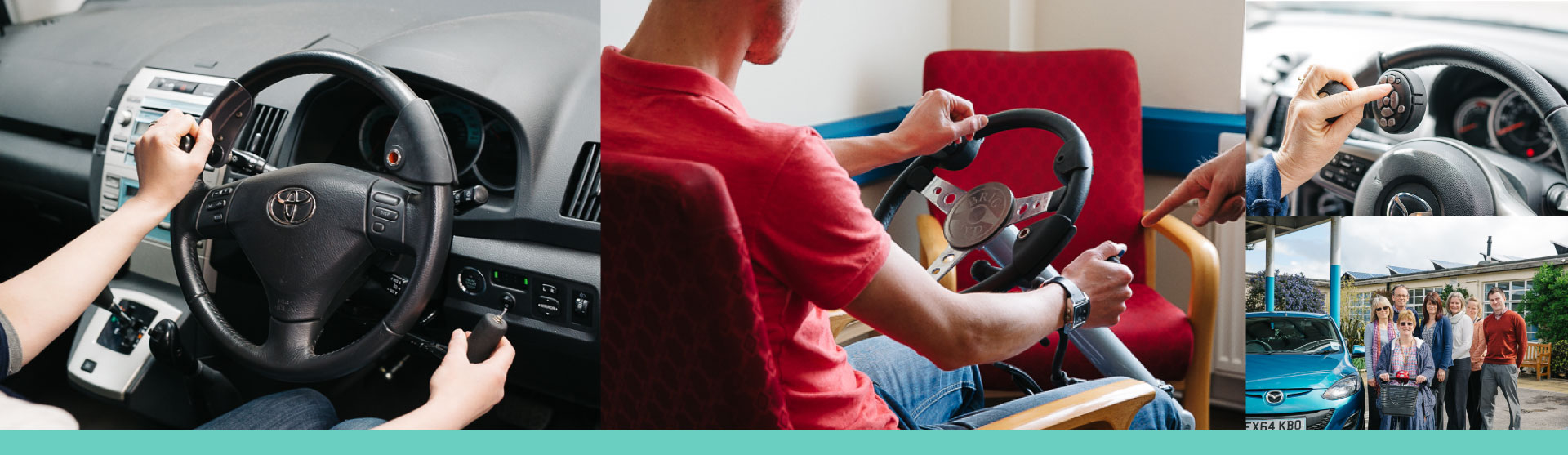On the left is a picture showing a person using a steering ball in the left hand and a push-pull hand control accelerator brake in the right. The middle picture shows a young man using a free-standing Brig Ayd demonstration rig and the Driving Advisors hand pointing to the rig. The equipment is in one of our assessment rooms with a red armchair in the background. The picture on the top half is of someone using a Lodgesons combined steering aid remote secondary control unit, on a steering wheel, with their left hand. One finger is touching the controls on the control unit. Under that is a picture of 7 members of Driving and Mobility staff standing outside the front entrance of The Vassall Centre.